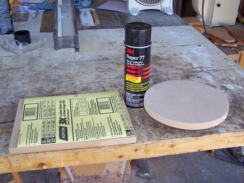 Getting ready to glue the sandpaper
