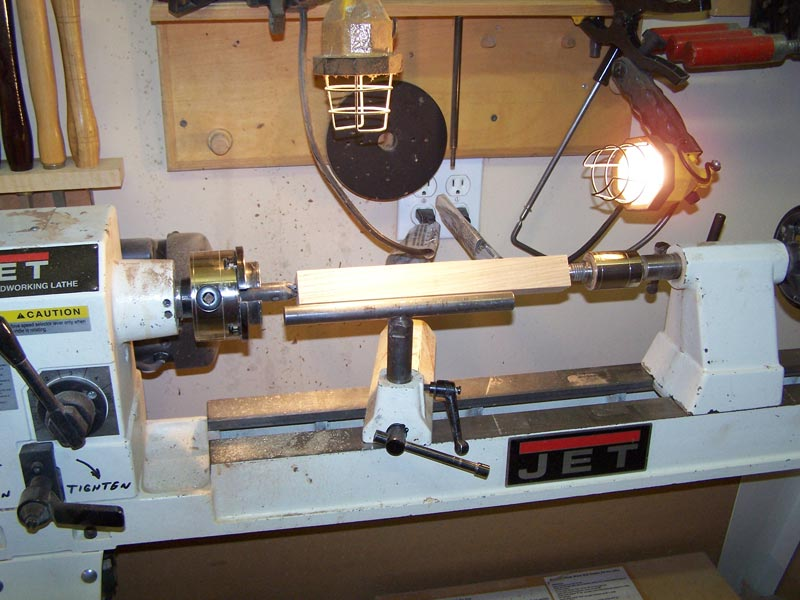 Lathe set-up for turning the handle